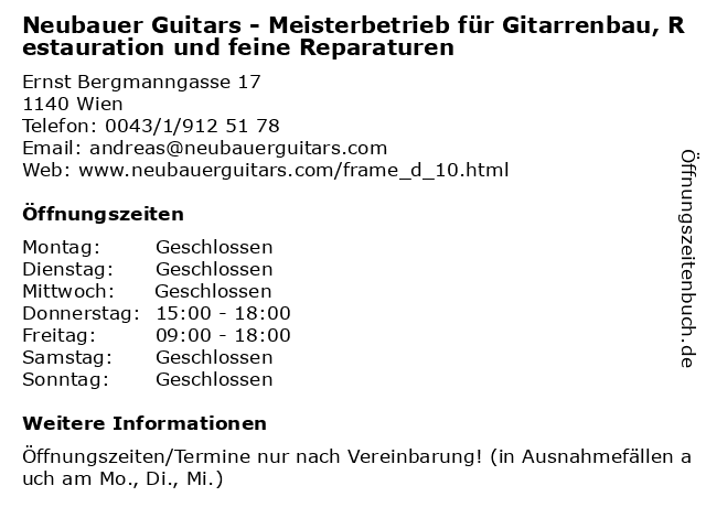 Neubauer Guitars - Meisterbetrieb für Gitarrenbau, Restauration und feine Reparaturen in Wien: Adresse und Öffnungszeiten