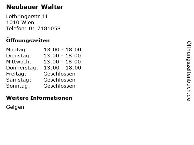 Neubauer Walter in Wien: Adresse und Öffnungszeiten