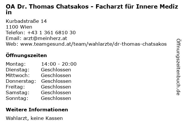 OA Dr. Thomas Chatsakos - Facharzt für Innere Medizin in Wien: Adresse und Öffnungszeiten
