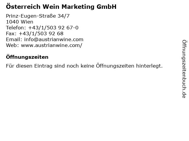 Österreich Wein Marketing GmbH in Wien: Adresse und Öffnungszeiten
