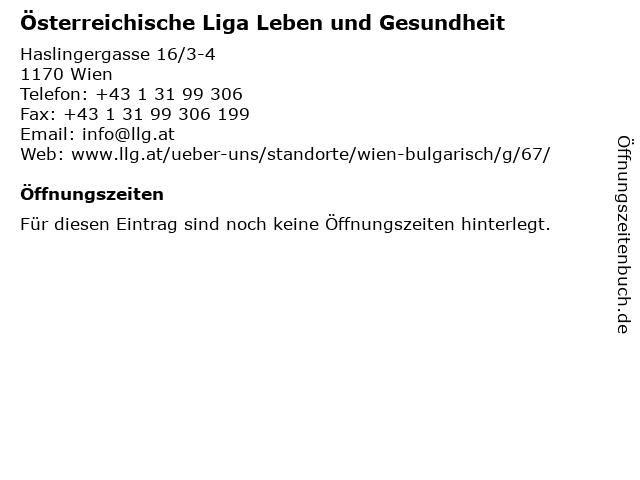 Österreichische Liga Leben und Gesundheit in Wien: Adresse und Öffnungszeiten