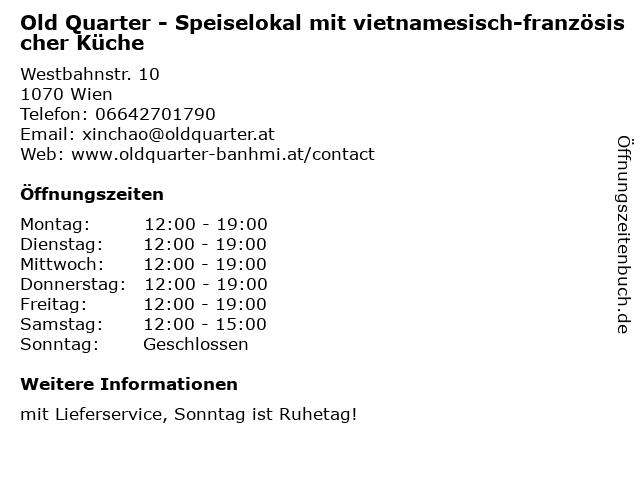 Old Quarter - Speiselokal mit vietnamesisch-französischer Küche in Wien: Adresse und Öffnungszeiten