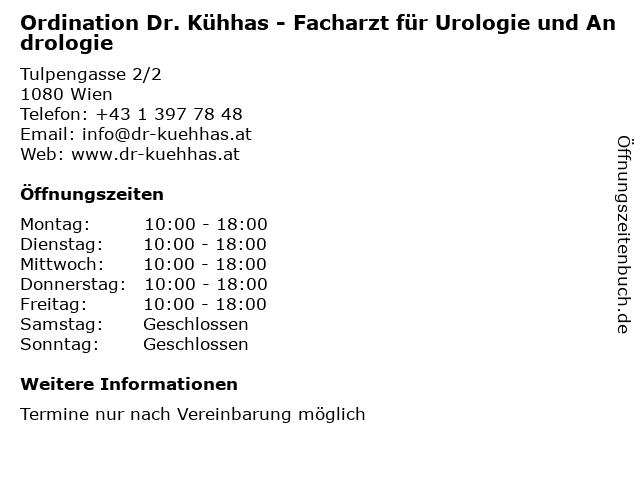 Ordination Dr. Kühhas - Facharzt für Urologie und Andrologie in Wien: Adresse und Öffnungszeiten