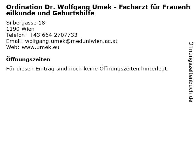 Ordination Dr. Wolfgang Umek - Facharzt für Frauenheilkunde und Geburtshilfe in Wien: Adresse und Öffnungszeiten