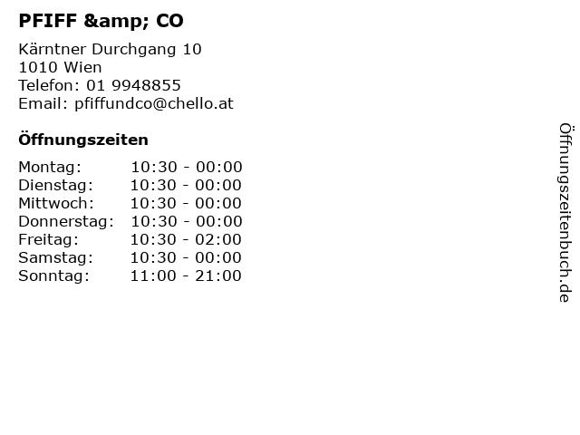 PFIFF & CO in Wien: Adresse und Öffnungszeiten