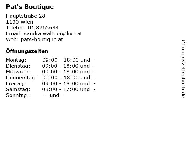 Pat's Boutique in Wien: Adresse und Öffnungszeiten