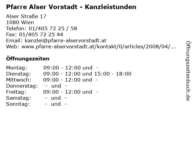 Pfarre Alser Vorstadt - Kanzleistunden in Wien: Adresse und Öffnungszeiten