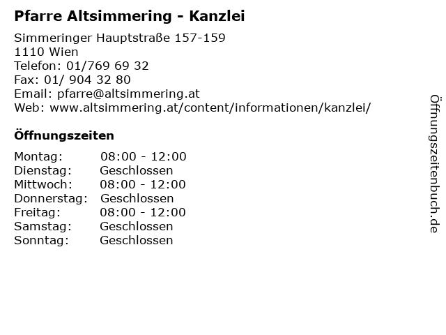 Pfarre Altsimmering - Kanzlei in Wien: Adresse und Öffnungszeiten