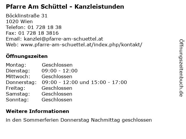 Pfarre Am Schüttel - Kanzleistunden in Wien: Adresse und Öffnungszeiten
