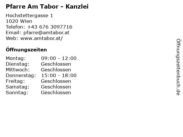Pfarre Am Tabor - Kanzlei in Wien: Adresse und Öffnungszeiten