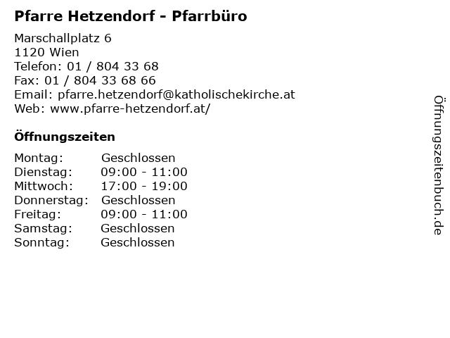 Pfarre Hetzendorf - Pfarrbüro in Wien: Adresse und Öffnungszeiten