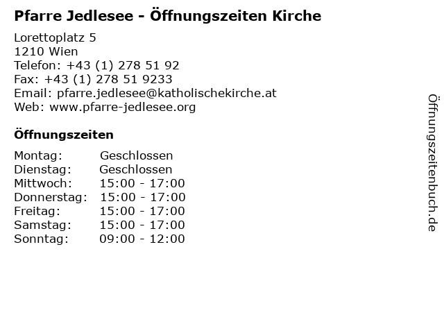 Pfarre Jedlesee - Öffnungszeiten Kirche in Wien: Adresse und Öffnungszeiten