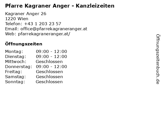 Pfarre Kagraner Anger - Kanzleizeiten in Wien: Adresse und Öffnungszeiten