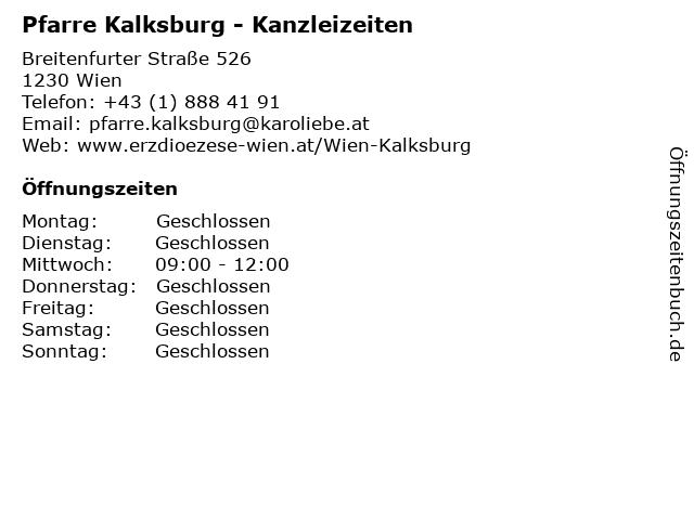 Pfarre Kalksburg - Kanzleizeiten in Wien: Adresse und Öffnungszeiten