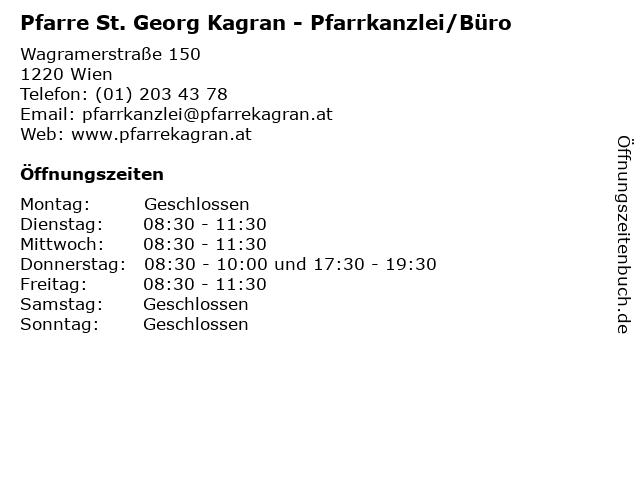 Pfarre St. Georg Kagran - Pfarrkanzlei/Büro in Wien: Adresse und Öffnungszeiten