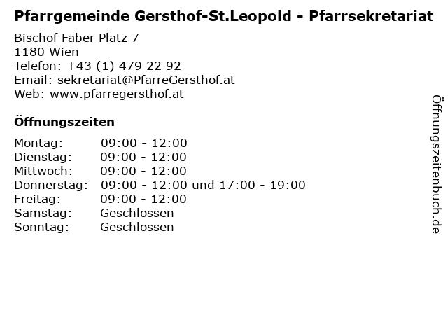 Pfarrgemeinde Gersthof-St.Leopold - Pfarrsekretariat in Wien: Adresse und Öffnungszeiten