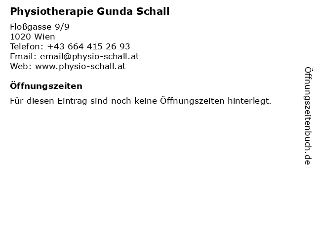 Physiotherapie Gunda Schall in Wien: Adresse und Öffnungszeiten