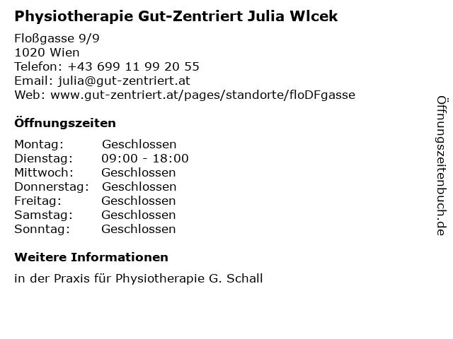 Physiotherapie Gut-Zentriert Julia Wlcek in Wien: Adresse und Öffnungszeiten