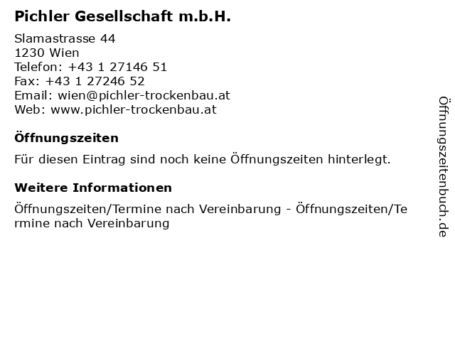 Pichler Gesellschaft m.b.H. in Wien: Adresse und Öffnungszeiten