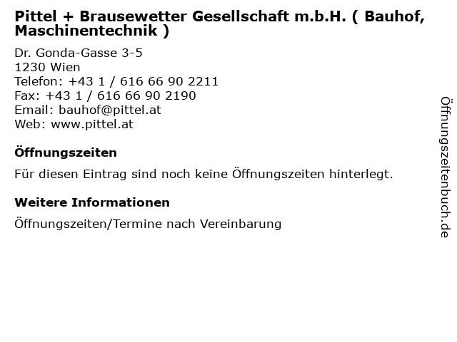 Pittel + Brausewetter Gesellschaft m.b.H. ( Bauhof, Maschinentechnik ) in Wien: Adresse und Öffnungszeiten