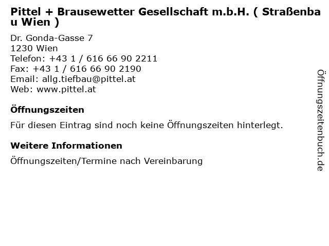 Pittel + Brausewetter Gesellschaft m.b.H. ( Straßenbau Wien ) in Wien: Adresse und Öffnungszeiten