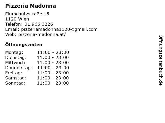 Pizzeria Madonna in Wien: Adresse und Öffnungszeiten