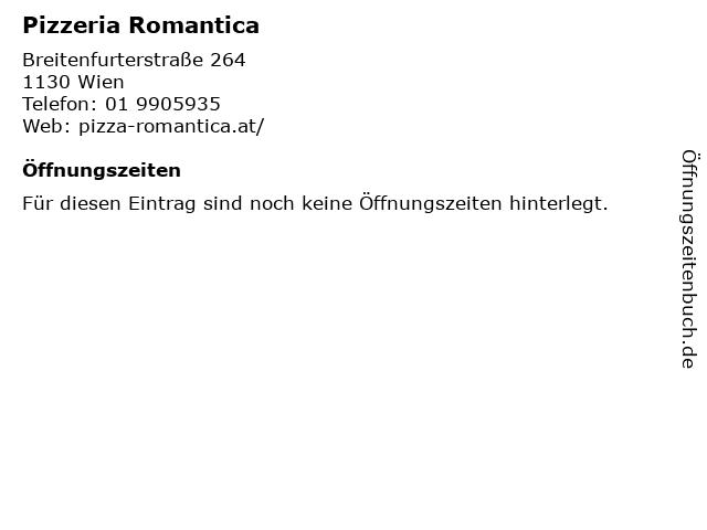 Pizzeria Romantica in Wien: Adresse und Öffnungszeiten