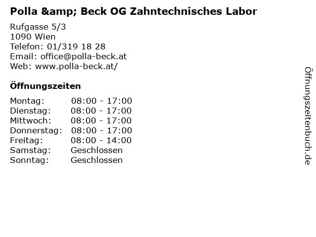 Polla & Beck OG Zahntechnisches Labor in Wien: Adresse und Öffnungszeiten