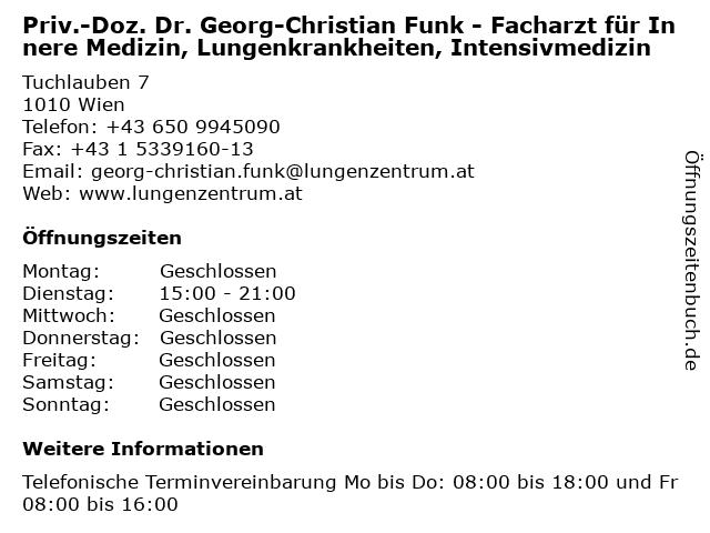 Priv.-Doz. Dr. Georg-Christian Funjk - Facharzt für Innere Medizin, Lungenkrankheiten, Intensivmedizin in Wien: Adresse und Öffnungszeiten