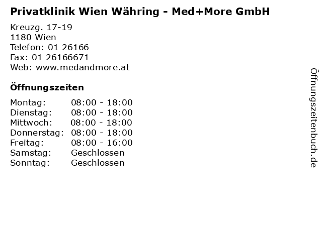Privatklinik Wien Währing - Med+More GmbH in Wien: Adresse und Öffnungszeiten