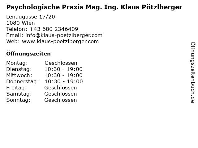 Psychologische Praxis Mag. Ing. Klaus Pötzlberger in Wien: Adresse und Öffnungszeiten