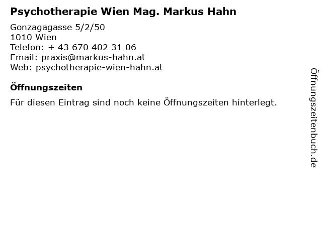 Psychotherapie Wien Mag. Markus Hahn in Wien: Adresse und Öffnungszeiten