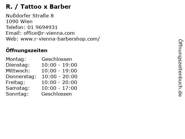 R. / Tattoo x Barber in Wien: Adresse und Öffnungszeiten