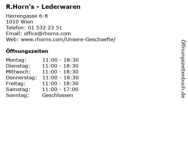 R.Horn's - Lederwaren in Wien: Adresse und Öffnungszeiten
