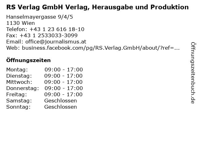 RS Verlag GmbH Verlag, Herausgabe und Produktion in Wien: Adresse und Öffnungszeiten