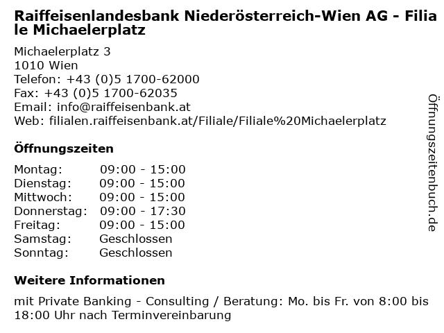 Raiffeisenlandesbank Niederösterreich-Wien AG - Filiale Michaelerplatz in Wien: Adresse und Öffnungszeiten