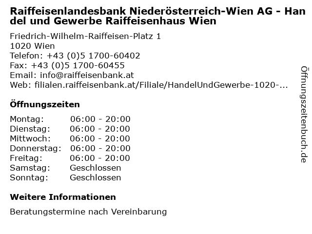 Raiffeisenlandesbank Niederösterreich-Wien AG - Handel und Gewerbe Raiffeisenhaus Wien in Wien: Adresse und Öffnungszeiten