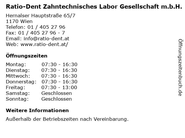 Ratio-Dent Zahntechnisches Labor Gesellschaft m.b.H. in Wien: Adresse und Öffnungszeiten