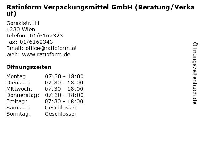 Ratioform Verpackungsmittel GmbH (Beratung/Verkauf) in Wien: Adresse und Öffnungszeiten