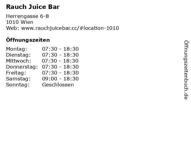 Rauch Juice Bar in Wien: Adresse und Öffnungszeiten