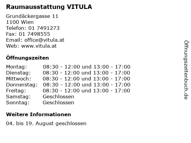 Raumausstattung VITULA in Wien: Adresse und Öffnungszeiten