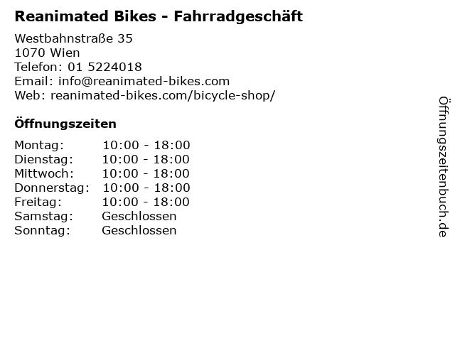 Reanimated Bikes - Fahrradgeschäft in Wien: Adresse und Öffnungszeiten