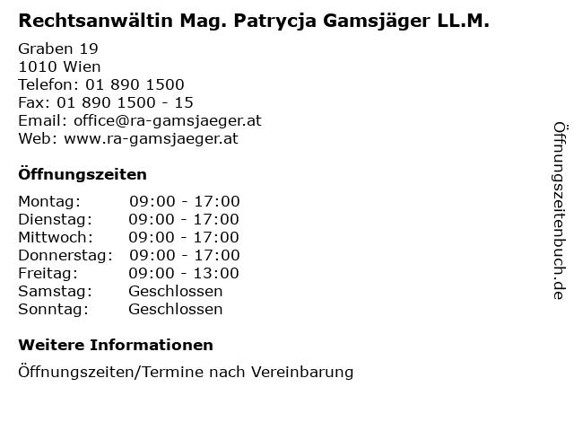 Rechtsanwältin Mag. Patrycja Gamsjäger LL.M. in Wien: Adresse und Öffnungszeiten