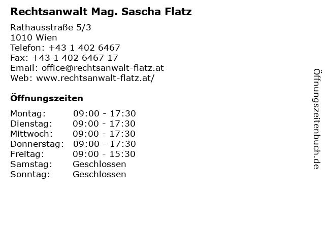 Rechtsanwalt Mag. Sascha Flatz in Wien: Adresse und Öffnungszeiten