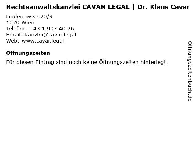 Rechtsanwaltskanzlei CAVAR LEGAL   Dr. Klaus Cavar in Wien: Adresse und Öffnungszeiten