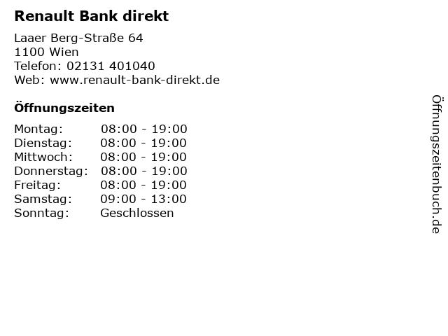 Renault Bank direkt in Wien: Adresse und Öffnungszeiten