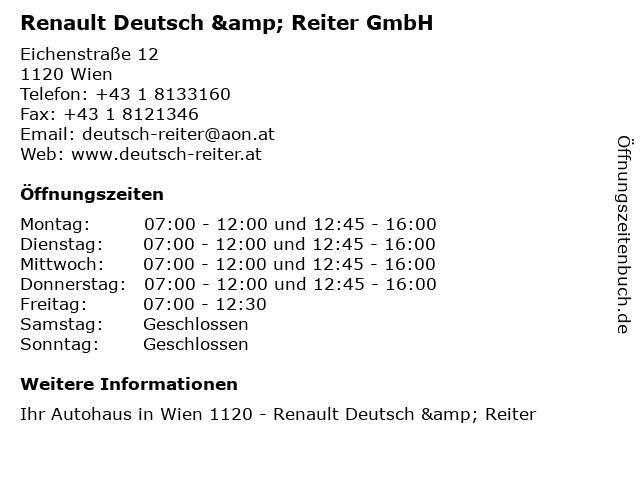 Renault Deutsch & Reiter GmbH in Wien: Adresse und Öffnungszeiten