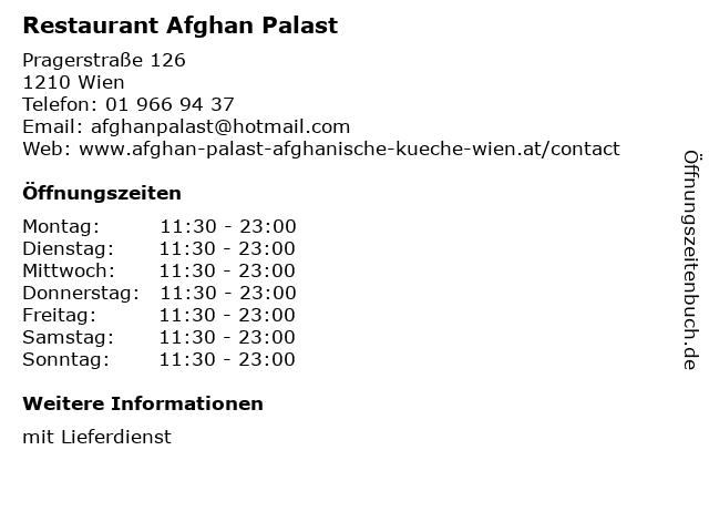 ᐅ öffnungszeiten Restaurant Afghan Palast Pragerstraße 126 In Wien