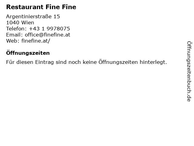 Restaurant Fine Fine in Wien: Adresse und Öffnungszeiten