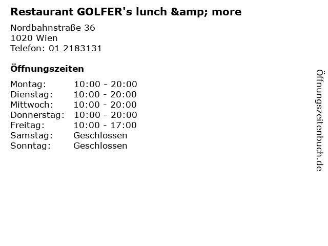 Restaurant GOLFER's lunch & more in Wien: Adresse und Öffnungszeiten
